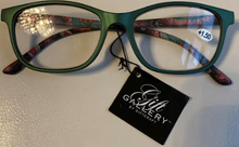 Load image into Gallery viewer, Green and Paisley Reading Glasses in Blue Case