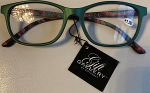 Green and Paisley Reading Glasses in Blue Case
