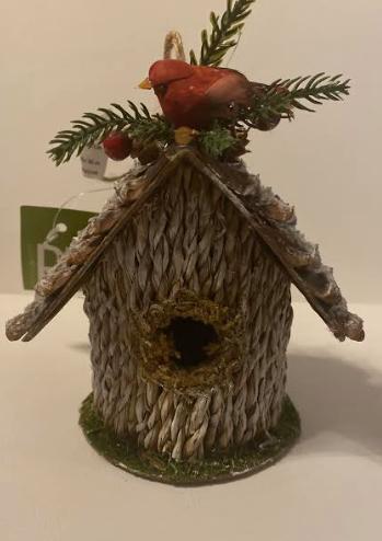 Bird House With Cardinal Ornament