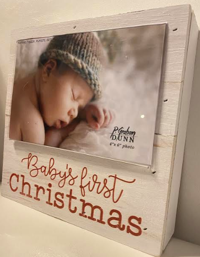 Baby's First Christmas Wood Photo Frame (4x6)