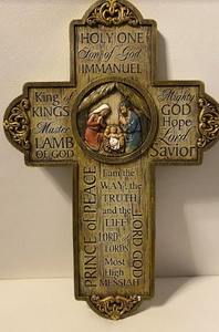 Jesus Name Christmas Wall Cross