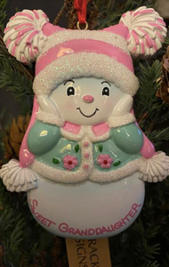 Sweet Granddaughter Snowman Ornament