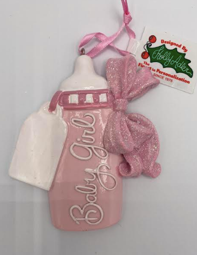 Baby Girl Baby Bottle Ornament
