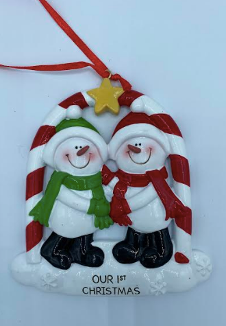 Our First Christmas Snowman Couple Ornament
