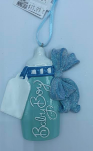 Baby Boy Baby Bottle Ornament