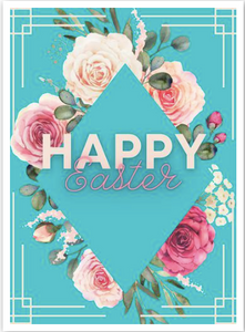 """Happy Easter"" Flowers Card"
