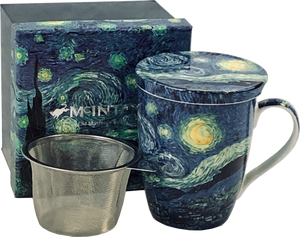 Van Gogh Starry Night Mug with Tea Infuser and Lid