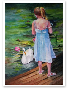 """Girl with Swan"" Mother's Day Card"