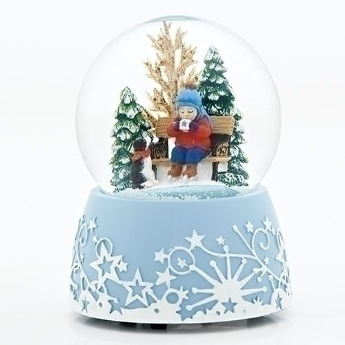 Snow Globe Child Drinking Hot Chocolate