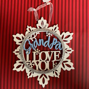 Grandpa Blue & White Snowflake Ornament