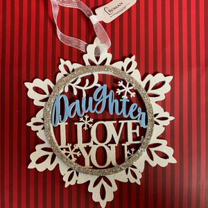 Daughter Blue & White Snowflake Ornament