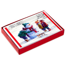 Load image into Gallery viewer, Building a Snowman, Christmas Cards (16 per box)