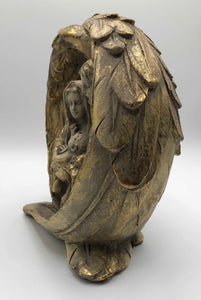 Gold Holy Family in Angel Wings