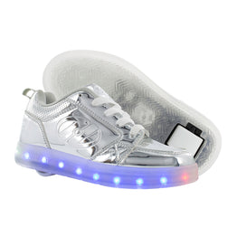Heelys Premium 1 Lo Light Up Shoes - Silver Chrome