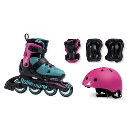 Rollerblade 2020 Cube G Inline Skates And Protective Set - Pink/Emerald
