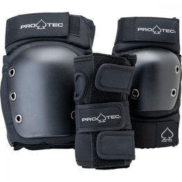 Pro-Tec Street Gear Open Back Junior 3 Pack Pad Set - Black