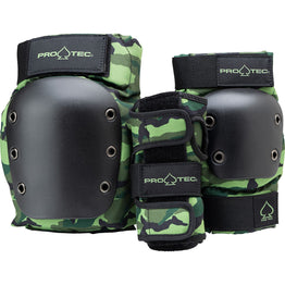 Pro-Tec Street Gear Junior 3 Pack Pad Set - Camo Green