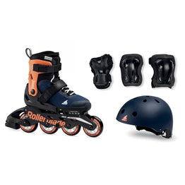 Rollerblade 2020 Cube Inline Skates And Protective Set - Blue/Orange