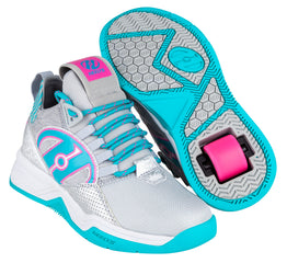 Heelys Bandit Shoes - Grey/Aqua/Hot Pink
