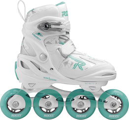 Roces Moody TIF Girls Adjustable Inline Skates - White/Aqua