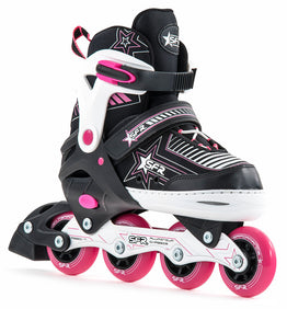 Sfr Pulsar Girls Adjustable Inline Skates - Black White Pink