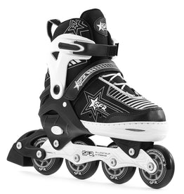 Sfr Pulsar Adjustable Inline Skates - Black White Silver