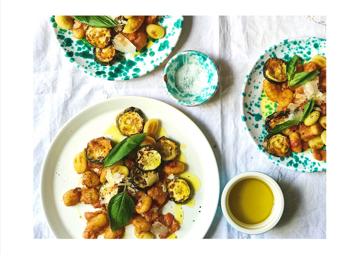 Almond & tomato gnocchi with roasted courgettes