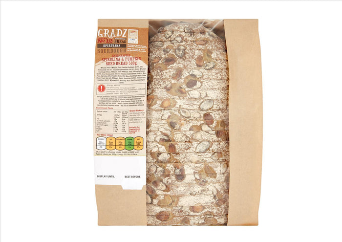Gradz No.12 - Spirulina & Pumpkin Seed Bread (500g)  - **Order before 4pm for next day delivery**