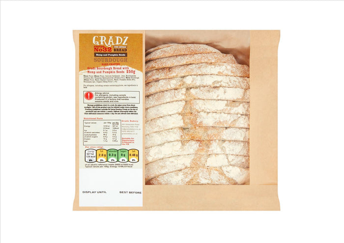 Gradz No.32 - Sourdough Bread with Hemp & Pumpkin Seeds (250g)  - **Order before 4pm for next day delivery**