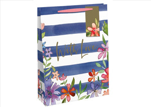 Large Gift Bag - Navy Stripe Floral (Each)