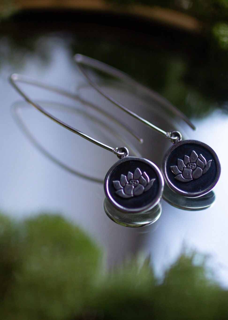 Sterling Silver Earrings Lotus Flower