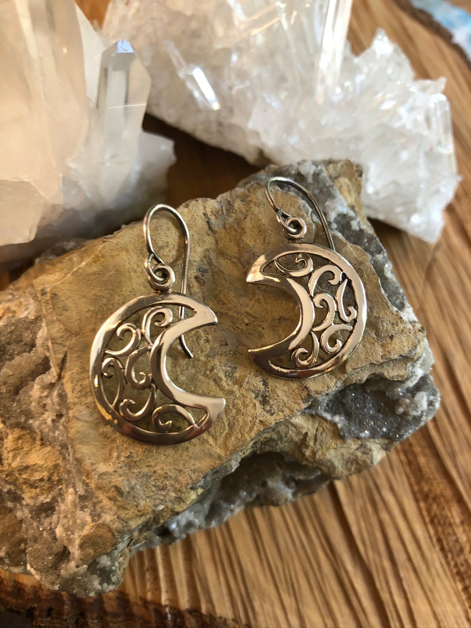 Sterling Silver Earrings Moon