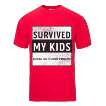 Load image into Gallery viewer, Historic Pandemic Survived My Kids Red Short Sleeve T-shirt - Historic Tees