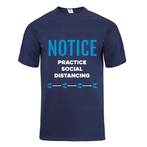 Notice Practice Social Distancing Navy Short Sleeve T-shirt - Historic Tees