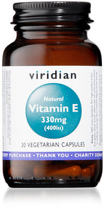 Viridian Natural Vitamin E 330mg (400IU) (30 capsules)