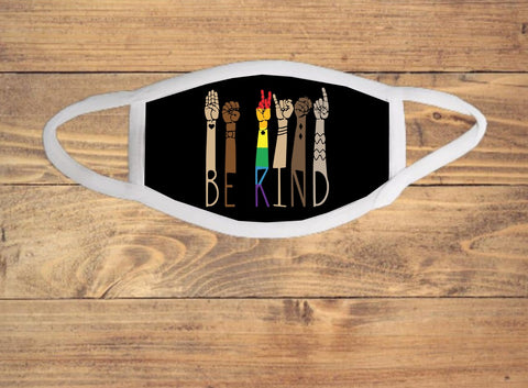 Be Kind Sign Language ASL Pride Multi-Racial Face Cover