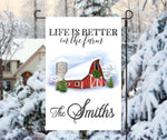 Custom Personalized Life Is Better On The Farm Winter Garden Flag