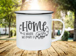 Home Is Where We Park It 11oz Enamel Camp Mug