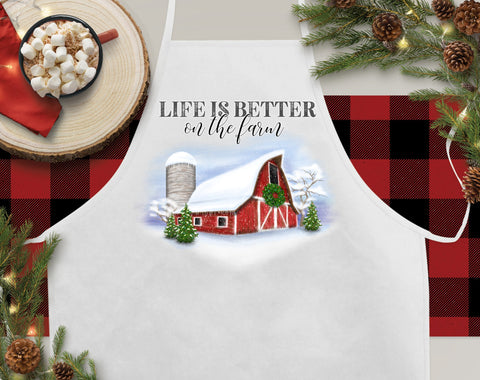 Life Is Better On The Farm Christmas Kitchen Apron