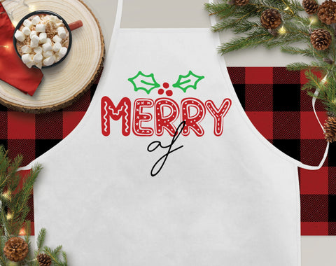 Merry AF Christmas Kitchen Apron