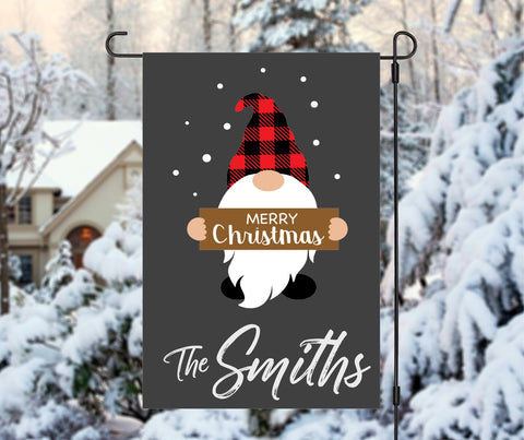 Custom Personalized Merry Christmas Gnome Winter Garden Flag