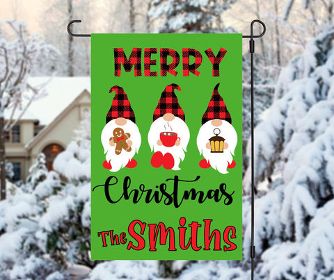 Custom Personalized Merry Christmas Gnomes Winter Garden Flag