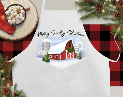 Merry Country Christmas Christmas Kitchen Apron