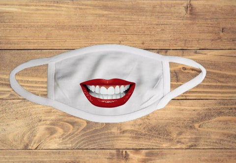 Open Smile Red Lips Mouth Face Cover
