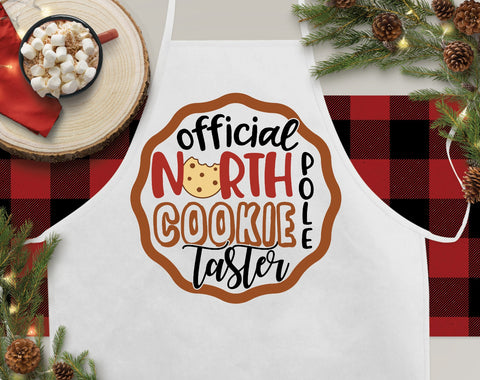 Official North Pole Cookie Taster Christmas Kitchen Apron