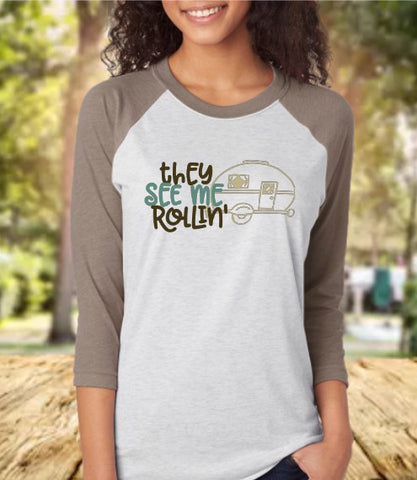 They See Me Rollin' Baseball 3/4 Sleeve Raglan Tee