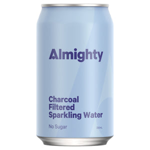 ALMIGHTY BEVERAGES CHARCOAL FILTERED SPARKLING WATER 330ML 24 PACK
