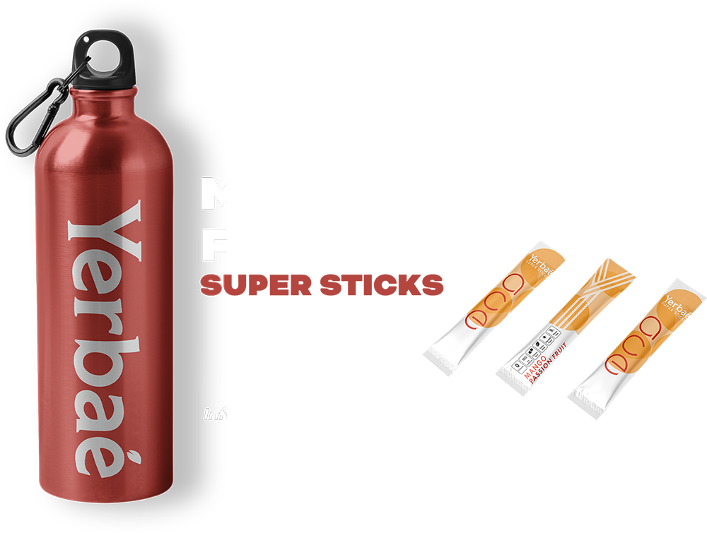 Mango Passion Fruit Super Sticks with a water bottle
