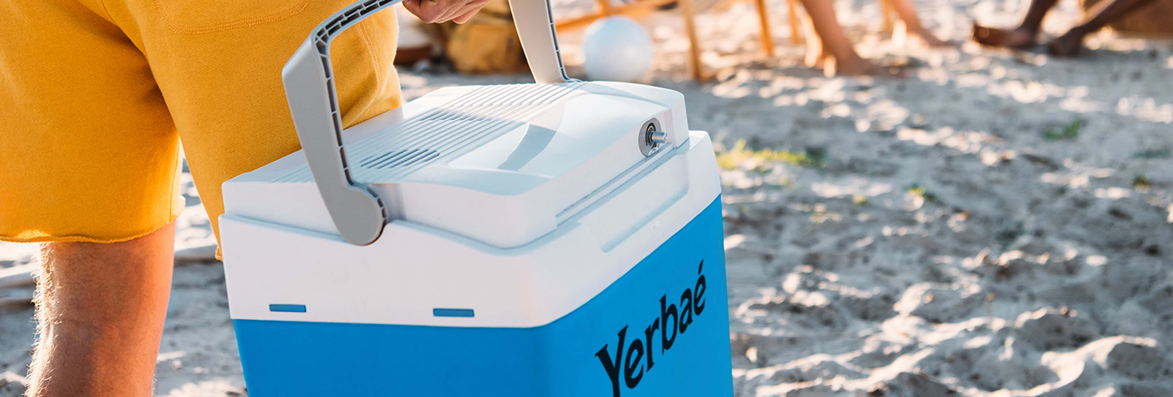 yerbae branded cooler at the beach