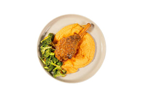 Slow Cooked Lamb Shanks with Sweet Potato Mash & Steamed Greens - Serves 4